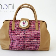 Beige and pink woven doctor bag