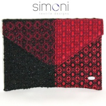 Black and red woven envelpope