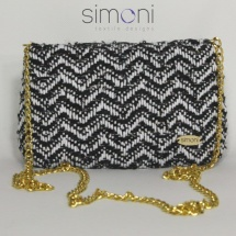 Black and white mini woven bag