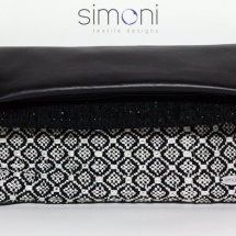 Black and white woven bag