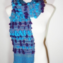 Blue and Purple woven scarf with pom poms