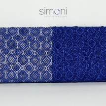 Blue and silver woven clutch