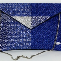 Blue and silver woven envelope
