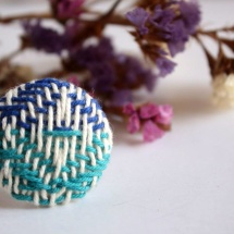 Blue turquoise and white hand-woven ring