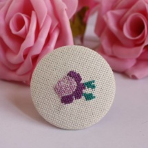 Embroidered brooch with purple rose