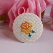 Embroidered brooch with yellow rose