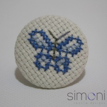 Embroidered butterfly blue ring
