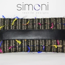 Flat Tweed Black and Gold clutch bag with leather