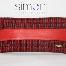 Flat Tweed Red and Black clutch bag with leather