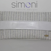 Flat Tweed White and Silver clutch bag with leather