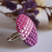 Fucsia Purple and white handwoven ring