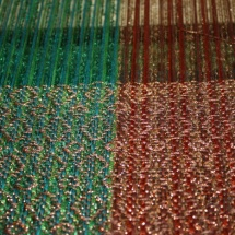 Green and Copper fabric with patterns