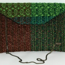 Green and copper woven envelope