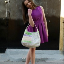 Green purple and white shopper bag 4