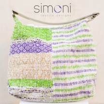 Green purple and white woven shoulder bag
