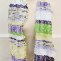 Green white and purple scarf
