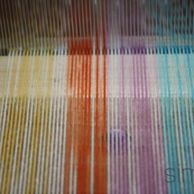 Hand dyed fabric on the loom