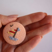 Hand embroidered boat brooch