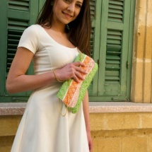 Orange green and white clutch 4