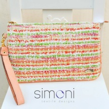 Orange green and white purse