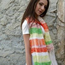 Orange green and white shawl