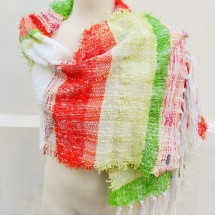 Orange green and white woven scarf