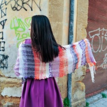 Orange purple and white woven scarf 2