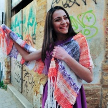 Orange purple and white woven scarf