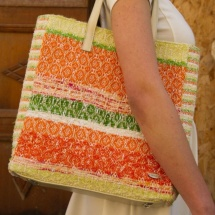 Orange white and green shopper bag 1