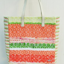 Orange white and green shopper bag 2