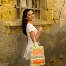 Orange white and green shopper bag