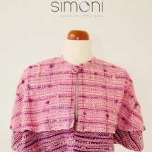 Pink and purple woven cape
