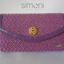 Pink and purple woven clutch