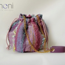 Pink woven pouch