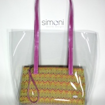 Plastic bag with woven purse and fucsia handles