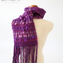 Purple and Pink tweed scarf with pom poms