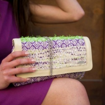 Purple green and beige clutch