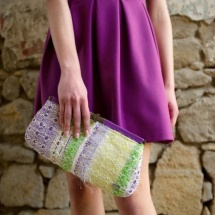 Purple green and white clutch 4