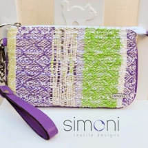 Purple green and white mini purse