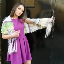 Purple green and white shawl 2