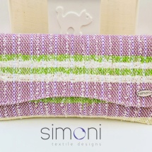 Purple green and white woven clutch