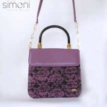 Purple woven shoulder bag