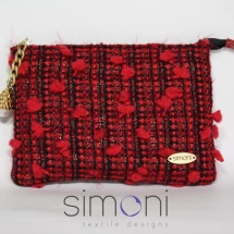 Red and Black Tweed mini purse with pearl
