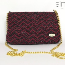 Red and black mini woven bag