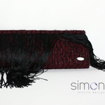 Red and black woven clutch with fringe