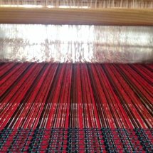 Red and black woven fabric
