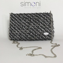 Silver and Black mini woven bag
