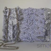 Silver mini woven bag