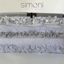 Silver woven clutch