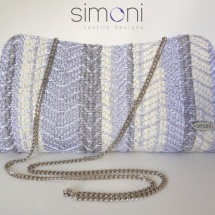 Silver woven clutch with chain